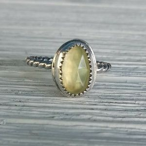 Sterling silver Prehnite solitaire/stack ring